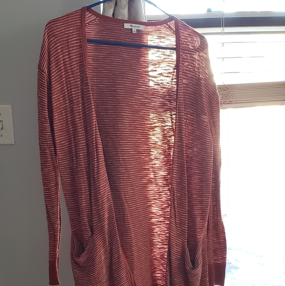 Madewell open front cardigan in rust